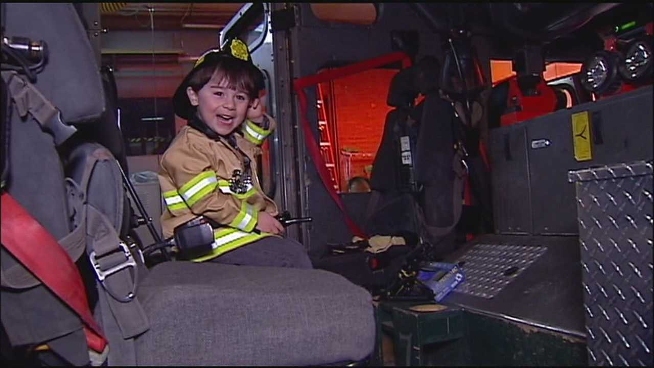 A 3-year-old boy whose video of getting excited about seeing a fire truck went viral this week got a chance to visit a Kansas City firehouse Tuesday evening.