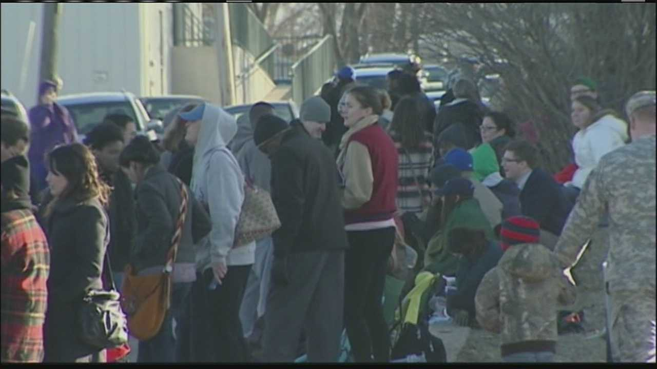 A long line of people waited in Lawrence Tuesday in hopes of getting tickets to see President Barack Obama's speech at the University of Kansas this week.