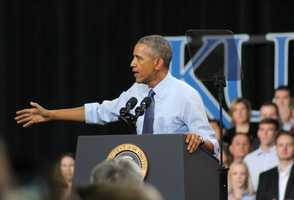 President Barack Obama delivered a speech on middle class economics at the University of Kansas on Thursday.