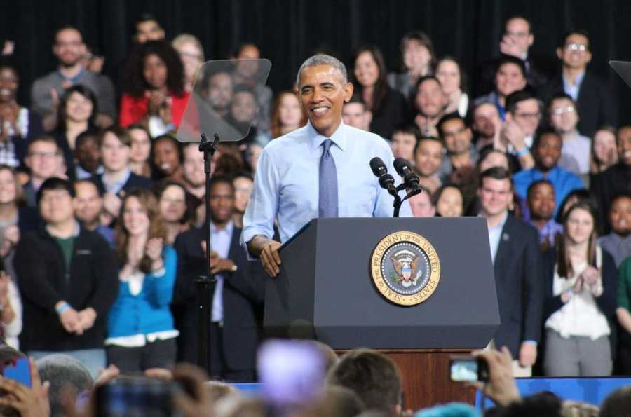President Barack Obama delivered a speech on middle class economics at the University of Kansas on Thursday.