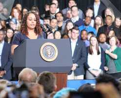 KU senior, and mother of three children, Alyssa Cole was given the honor of introducing President Obama. Cole wrote a letter to the president two years ago detailing the hardships for a single mother to also attend college.