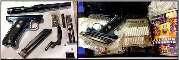 2,212 firearms were discovered in carry-on bags at checkpoints across the country, according to the TSA.  A disassembled .22 caliber firearm was discovered in a carry-on bag at John F. Kennedy International Airport. Various components of the gun were found hidden inside a PlayStation 2 console.
