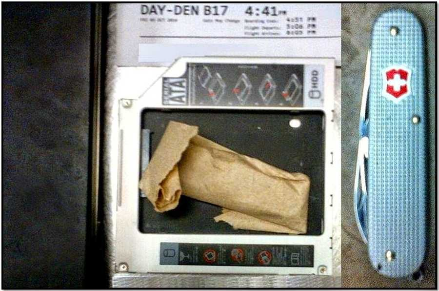 TSA: A three inch knife was found concealed inside of a laptop's hard drive caddy at Dayton International Airport.