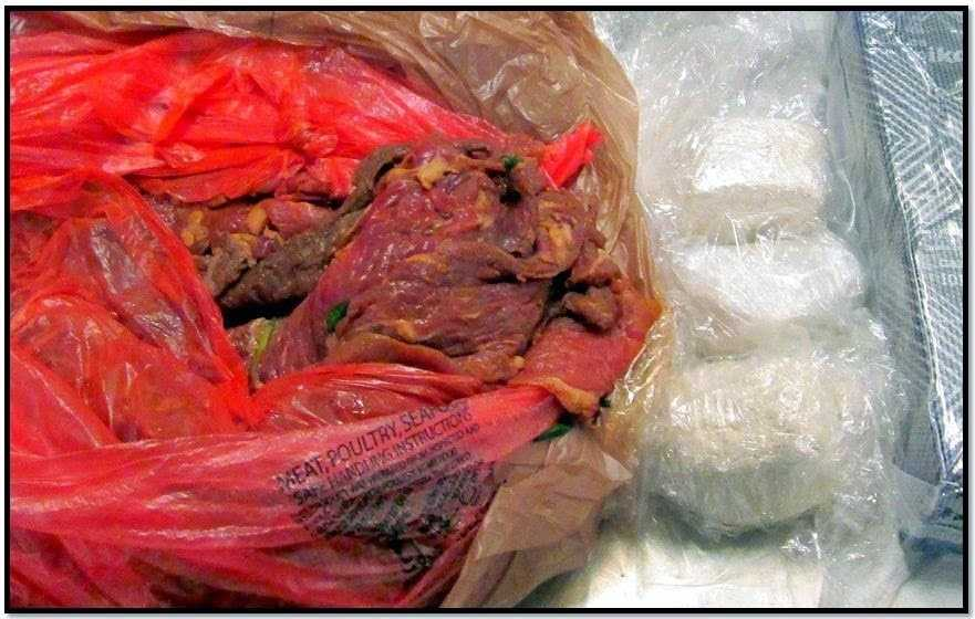 TSA: A San Jose International Airport (SJC) passenger was arrested after nearly 3 pounds of cocainewas discovered in his checked baggage wrapped inside a package of raw meat.