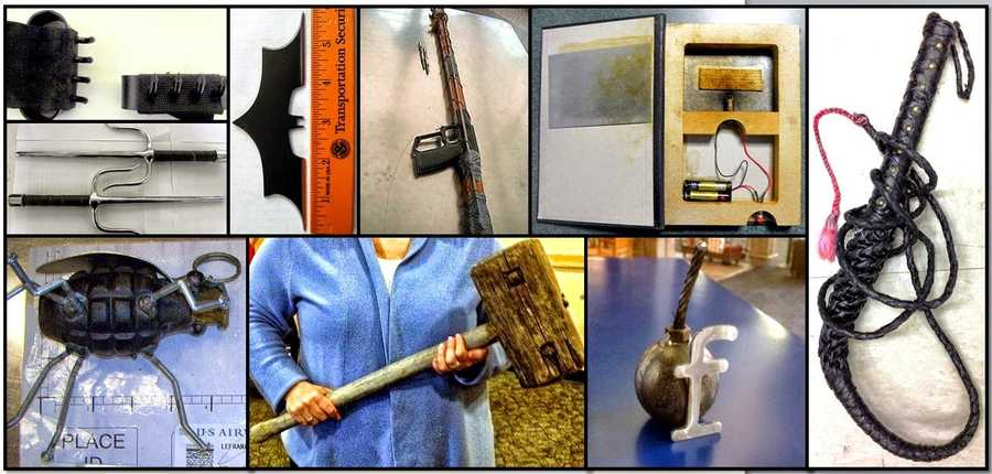 Other crazy items confiscated by TSA: Clockwise from top left, items discovered at: MDW, BUF, DEN, PHX, EWR, MKE, BTV and SLC