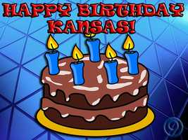 Happy Birthday Kansas! Kansas became the 34th state on January 29, 1861. It entered the Union as a slave-free state. Now, Kansas Day is celebrated every January 29th. Celebrate by brushing up on some Kansas facts.