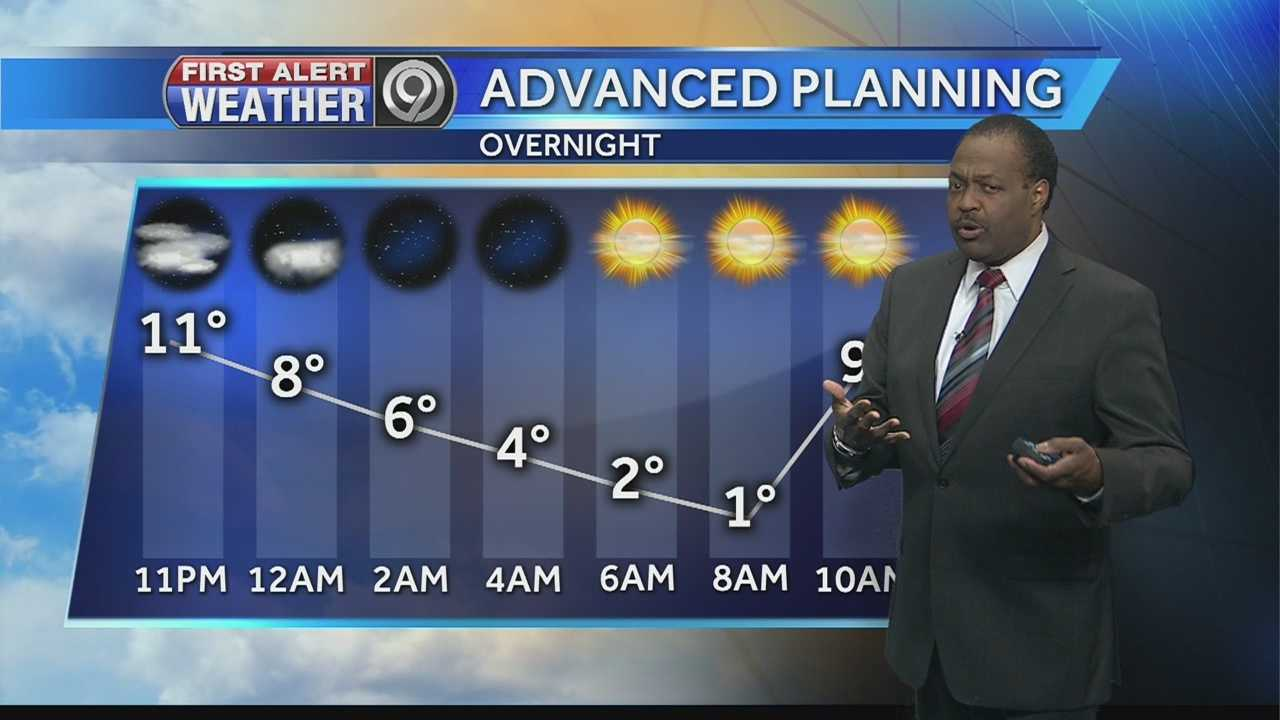 KMBC 9 chief meteorologist Bryan Busby says temperatures will plunge overnight, bottoming out just above zero during the morning commute before the start of a weekend warmup arrives.