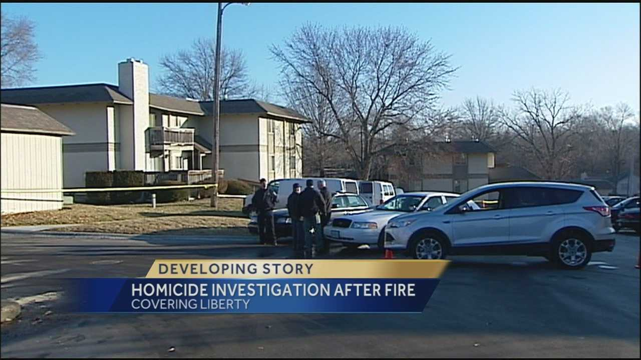 Liberty police said they're investigating a homicide and arson after a man was found dead outside his burning apartment.