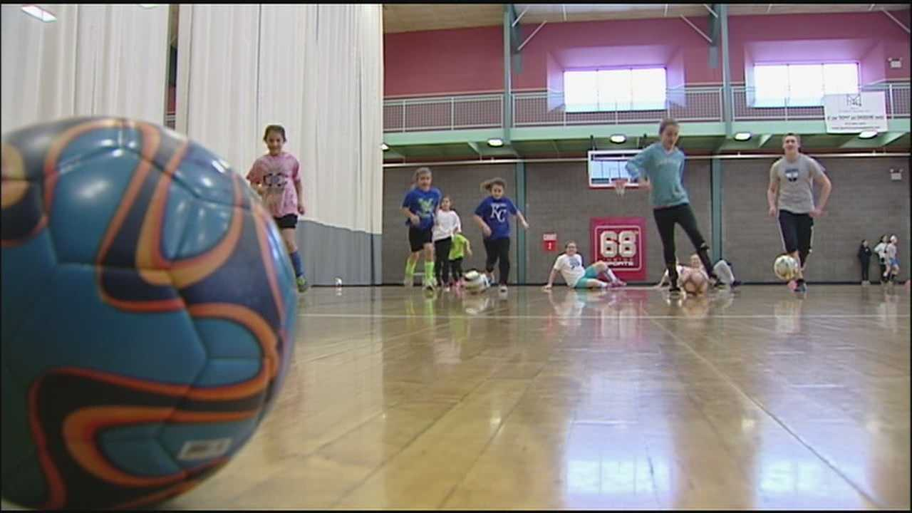 A soccer clinic in Overland Park Monday aimed to raise the profile of a serious social crisis and keep children active during the Presidents Day holiday.