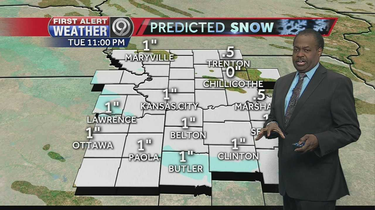 Snow is expected to fall around sunrise across Kansas City on Tuesday, and while accumulations shouldn't be that significant, it could pose problems for the morning commute.