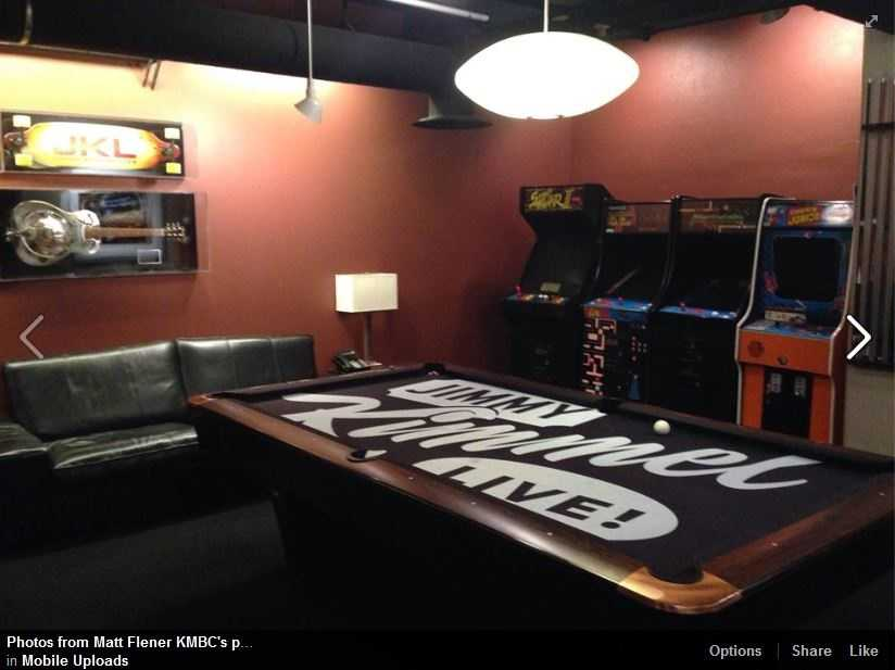 The pool table with Street Fighter and Donkey Kong Junior in the Green Room at Jimmy Kimmel Live.