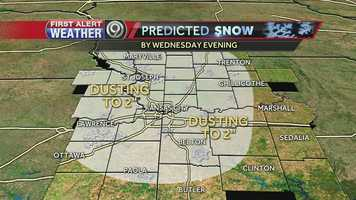 As of right now we're expecting anywhere from a dusting to 2 inches of snow in the Kansas City metro for Wednesday. Stay tuned to KMBC 9 News and logged onto KMBC.com for updates as we get closer.
