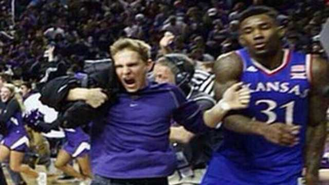 Kansas State Police would like to speak with this fan, who is accused of possibly going after a University of Kansas basketball player following Monday night's game.