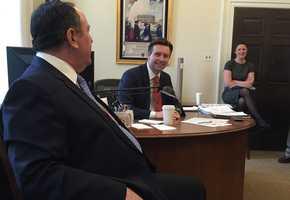 KMBC's Kris Ketz with White House Press Secretary Josh Earnest, a Kansas City, Mo. native.