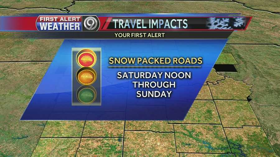 We're expecting snow packed roads from about Noon on Saturday all the way through Sunday.