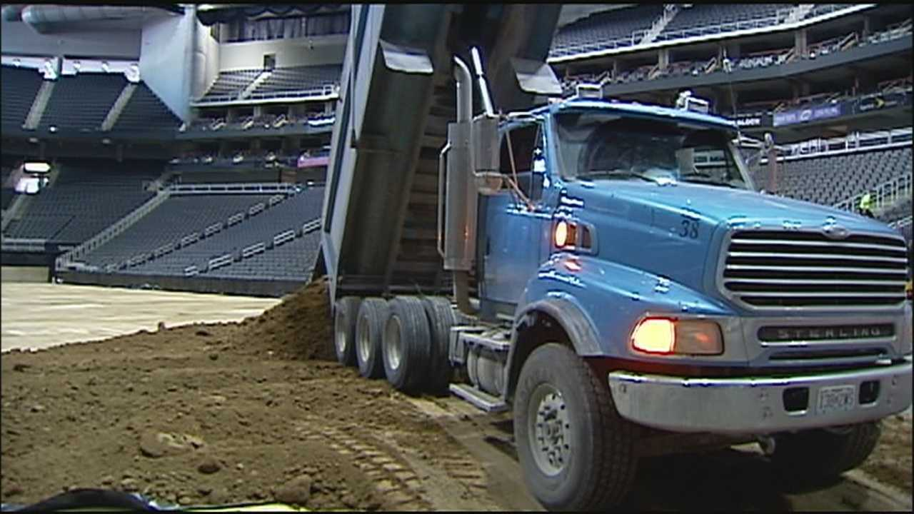 A transformation is underway at Sprint Center, where crews again have filled the floor with dirt in preparation for a big weekend event.