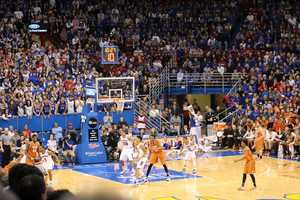 The Kansas Jayhawks hosted the Texas Longhorns Saturday at Allen Fieldhouse. Kansas switched to a zone defense for a stint in the second half to give Texas a different look.
