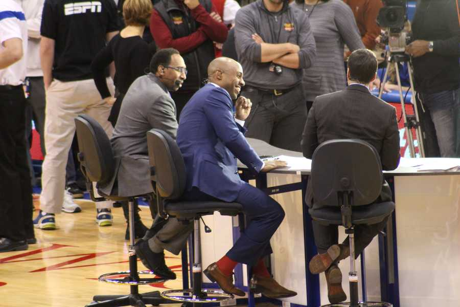 The Kansas Jayhawks hosted the Texas Longhorns Saturday at Allen Fieldhouse. ESPN's College Gameday crew was in the house.