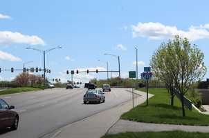 2.  Eastbound I-435 Highway at Quivira Road. Overland Park police gave 163 tickets in this area last year.  This intersection is near the Overland Park Regional Medical Center.