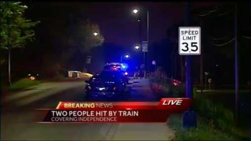 Two people were struck by a train in Independence Friday night.