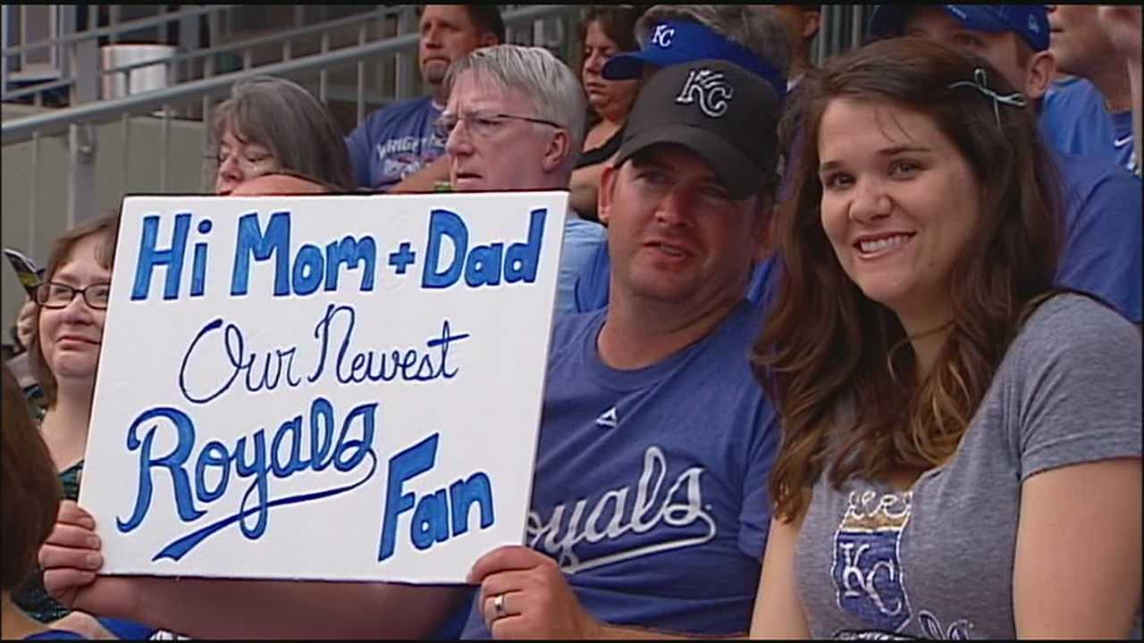 Many expecting couples pick creative ways to announce to the world whether they're having a boy or a girl.  Julie and Seth Johnson, both Royals fans from Baldwin City, Kansas, decided to make the announcement at Kauffman Stadium.