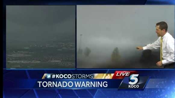 Areas around Oklahoma City were under a tornado warning 6 p.m. Wednesday.