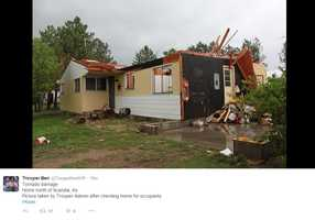 Troopers Ben Gardner and Gregory Askren report that no one was injured in the homes pictured.
