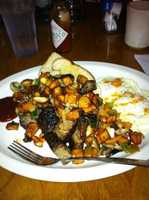 RJ's BobBeQue:(3.5 stars, 164 reviews)Kansas Citians could eat BBQ for every meal, so why not try a BBQ brunch? RJ's big countrybreakfasts all sound amazing, and the most reviewed favorite is their Burnt End Hash.