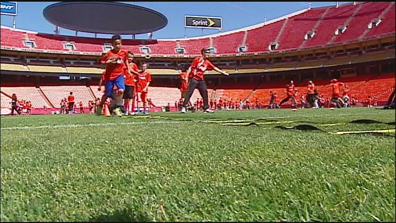 Students who spent much of the school year studying up on what they eat and how much they exercise were rewarded with a trip to Arrowhead Stadium on Tuesday.