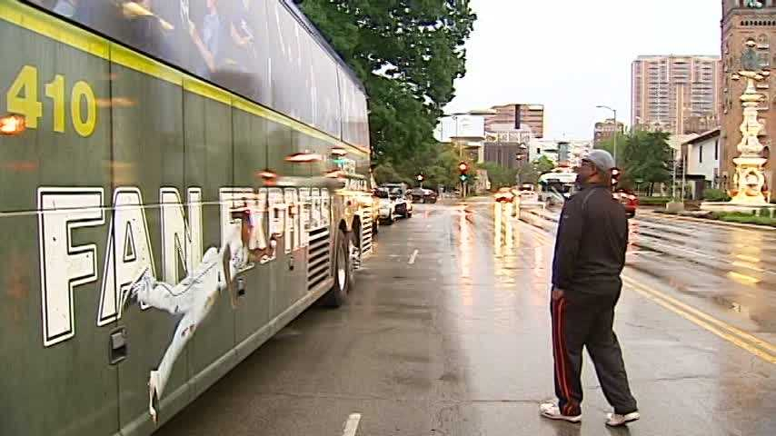 Kansas City Mayor Sly James takes a look at the new Forever Royal Fan Express.