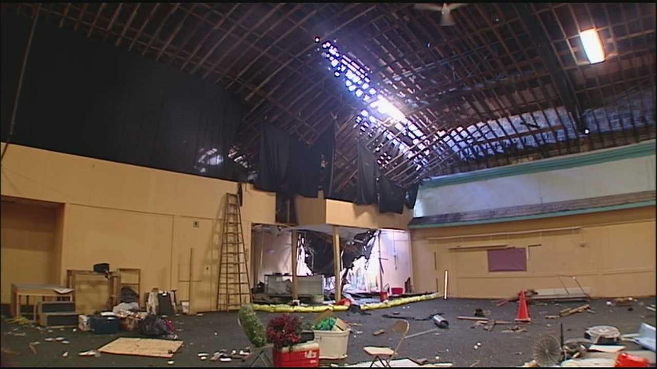 A Kansas City church is making plans for a big cleanup after torrential weekend rain caused its roof to cave in a few hours before Sunday services began.