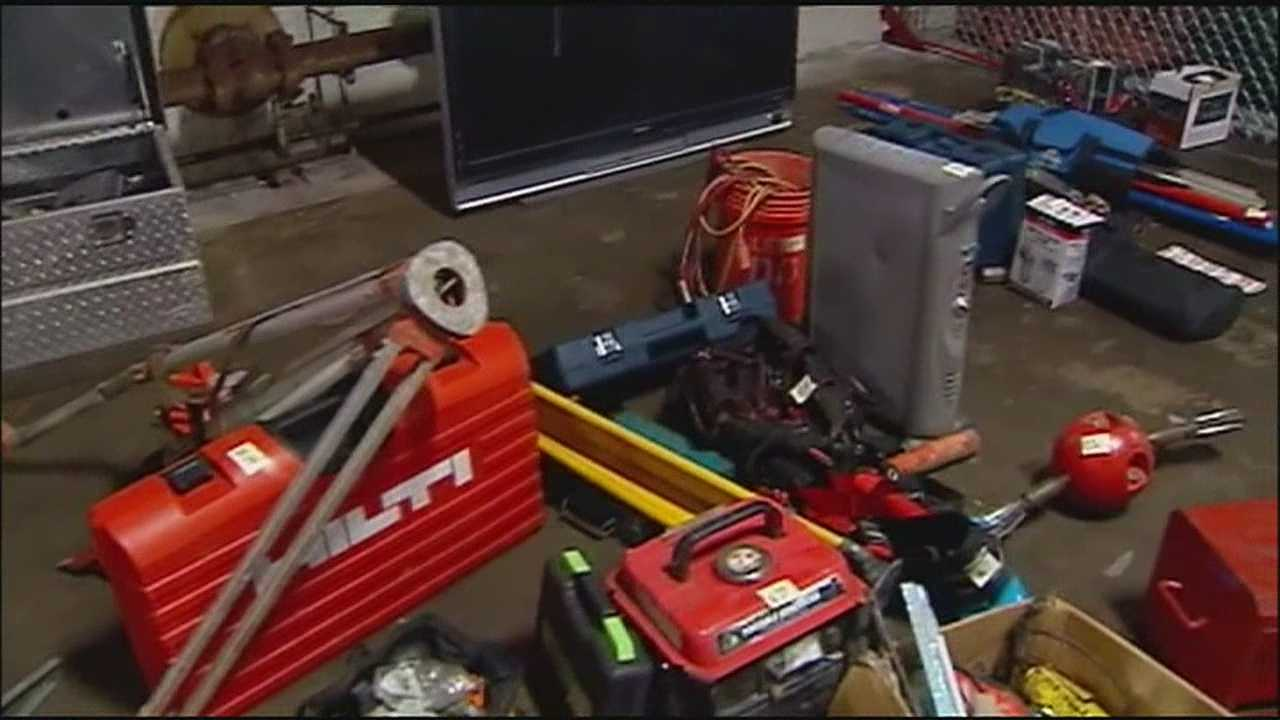 Police showed off a cache of stolen goods recovered from a property in Kansas City, Kansas, this week.