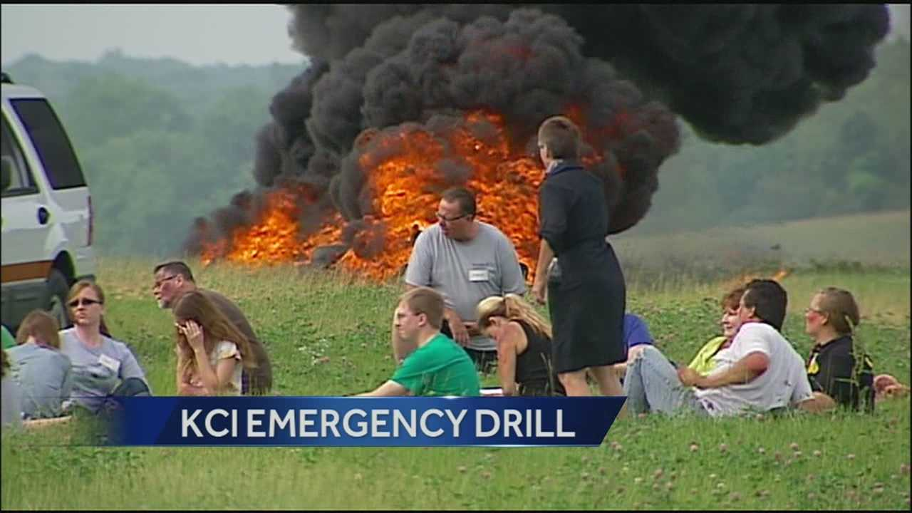 Crews staged a very realistic-looking drill to simulate an emergency at Kansas City International Airport