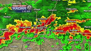 At 1:49 a.m., a National Weather Service employee reported an 80 mph wind gust in Riverside, Missouri.