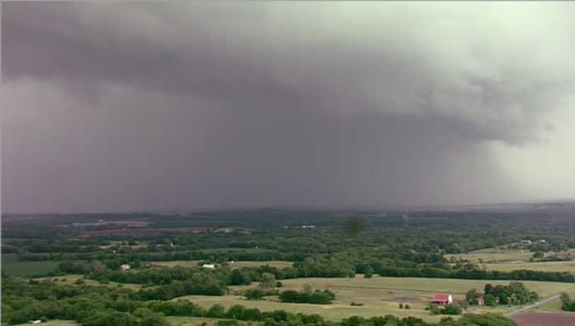 Weather spotters confirmed a tornado touchdown near Pleasant Hill. It was rain-wrapped.