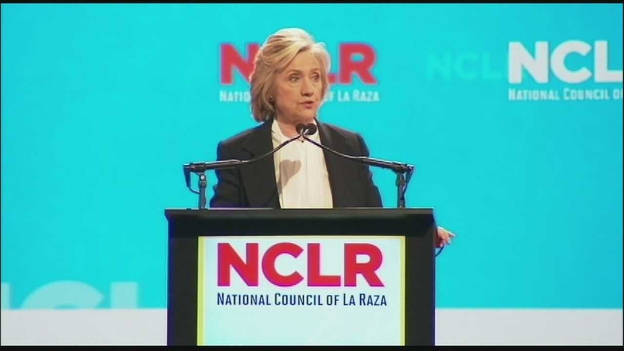 Three Democratic candidates for president, including Hillary Clinton, took shots at Donald Trump before a big audience at the National Council of La Raza convention in Kansas City Monday.