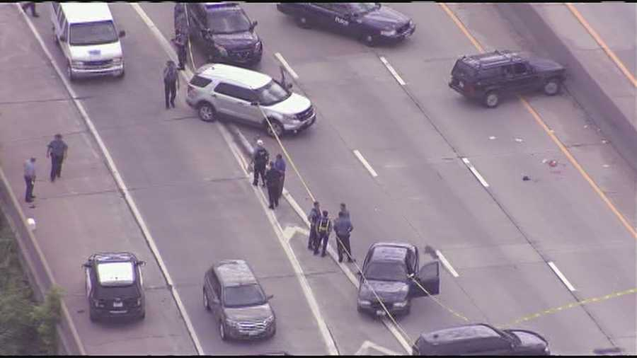 A pursuit involving police and U.S. marshals ended on Interstate 35 near 18th Street Expressway Thursday morning.