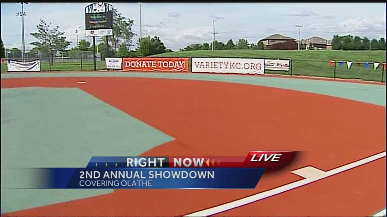 A softball game in Olathe Sunday evening pairs special-needs kids with high school buddies.