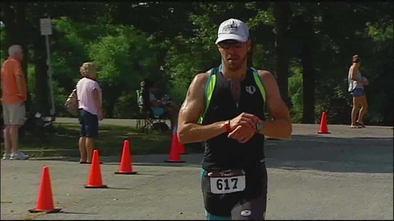 Hundreds of athletes from across the Midwest flocked to Longview Lake for one of the region's oldest and most popular triathlons.
