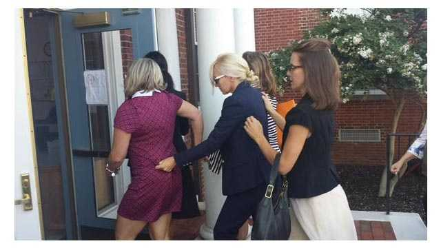 Molly Shattuck enters a Delaware courthouse as she prepares to be sentenced on child sex abuse charges