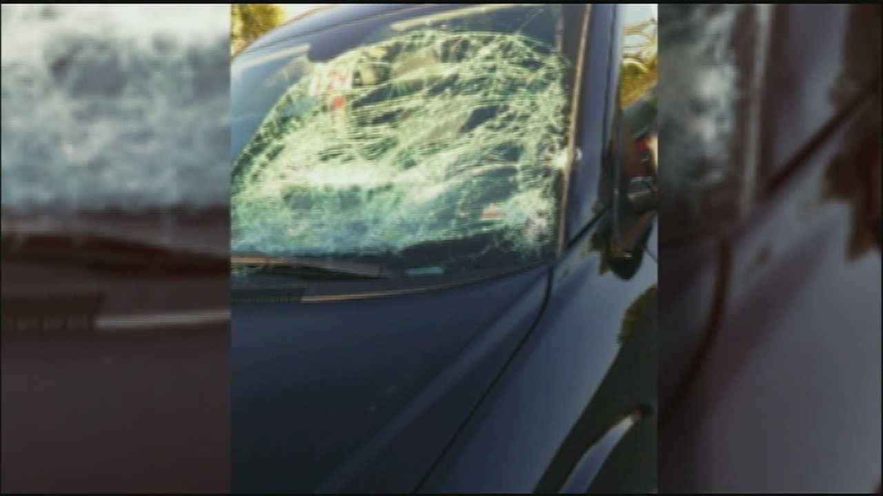A woman is recovering after being struck by a mattress while driving on Interstate 70.