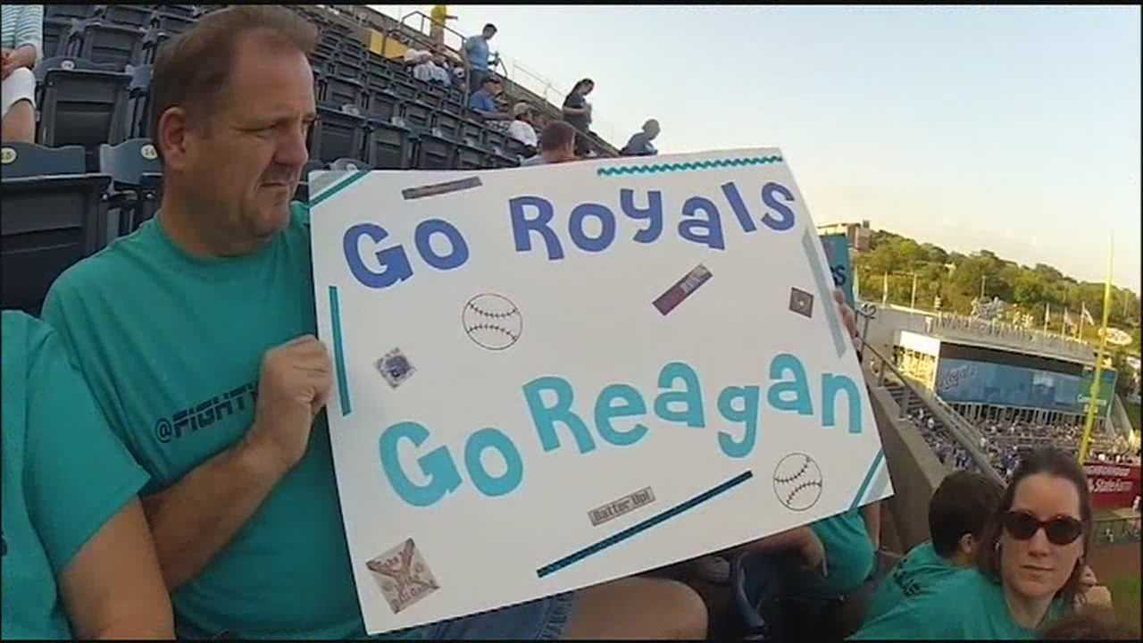 Reagan Class, who is making slow signs of recovery from a shooting at her home this summer, has been watching Royals games in her hospital room, and people at Kauffman Stadium delivered a teal-colored show of support.