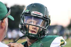 The home team Basehor-Linwood Bobcats took a 14-0 first half lead. Both teams turned the ball over, but Bobcats quarterback Justin Phillips (pictured) capitalizes with two touchdowns.
