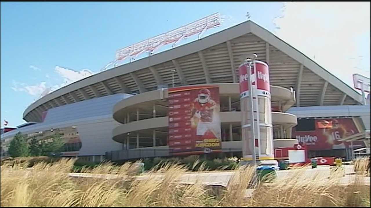 Crews spent Wednesday preparing Arrowhead Stadium for Thursday night's home opener between the Kansas City Chiefs and Denver Broncos.