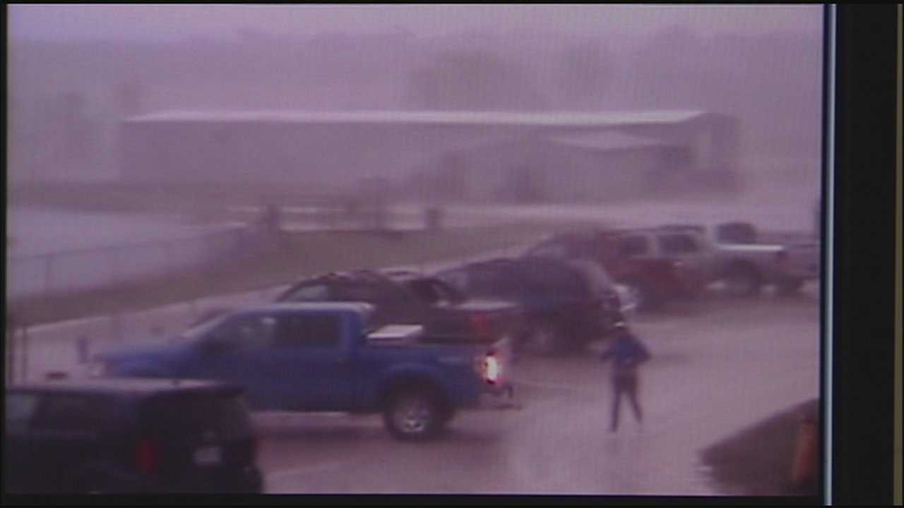 Newly released surveillance footage shows the EF-1 tornado striking Cass County's Midway High School.