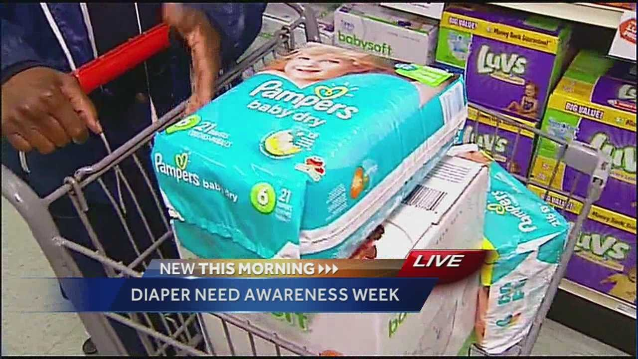 It's Diaper Need Awareness Week and a campaign is underway to ask people to pick up an extra package of diapers at the store and donate them for families who don't have money to buy them.
