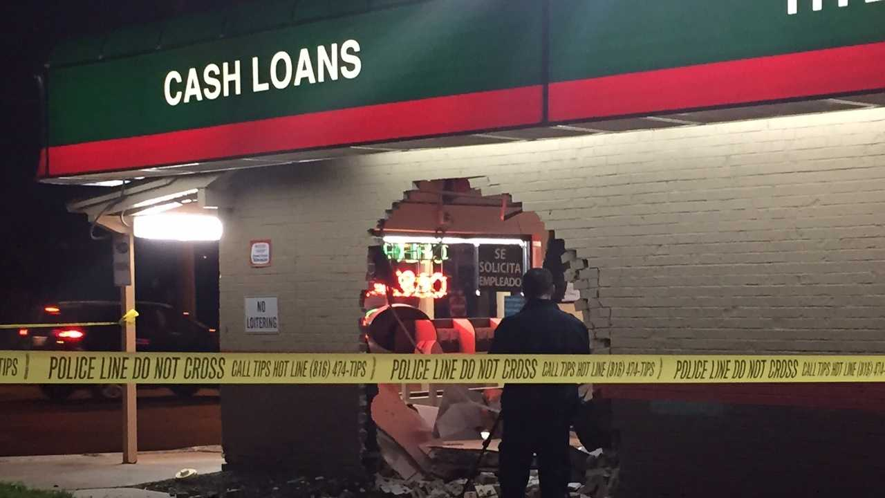 Kansas City police are investigating after someone drove a vehicle into the Speedy Cash Loan store at 63rd Street and The Paseo Friday morning.