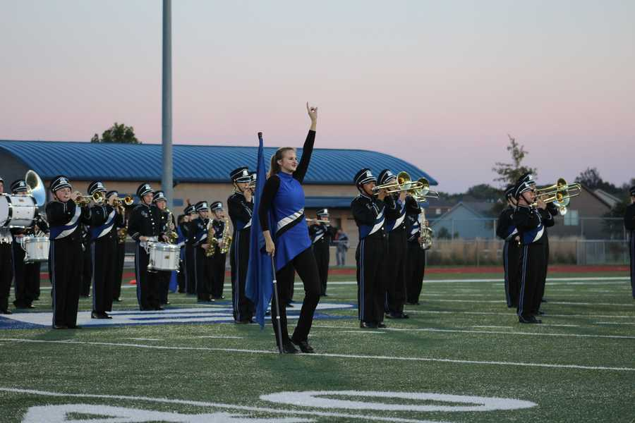 """Gardner Edgerton performed as part of the homecoming celebration and a """"pink out"""" event for breast cancer awareness."""