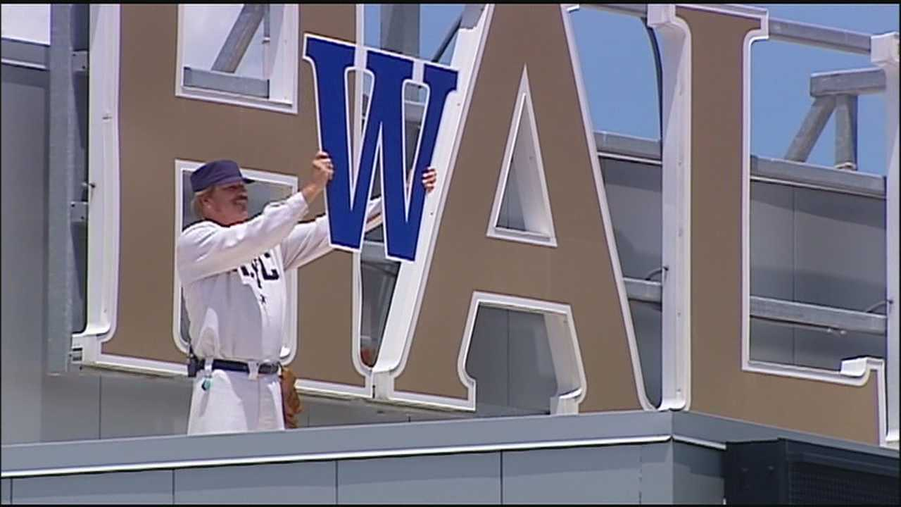 KayCee hangs a W at Kauffman Stadium after every home win and he says he thinks he'll be doing it a few more times before this postseason ends.
