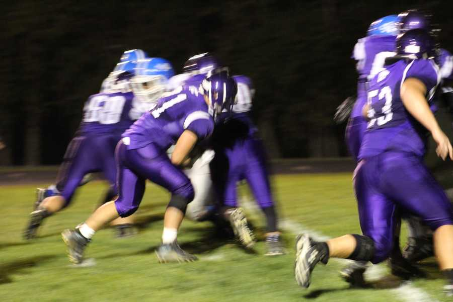 Alex Dunn scored after a turnover to begin the 2nd quarter.  The Louisburg Wildcats led, 35-0.